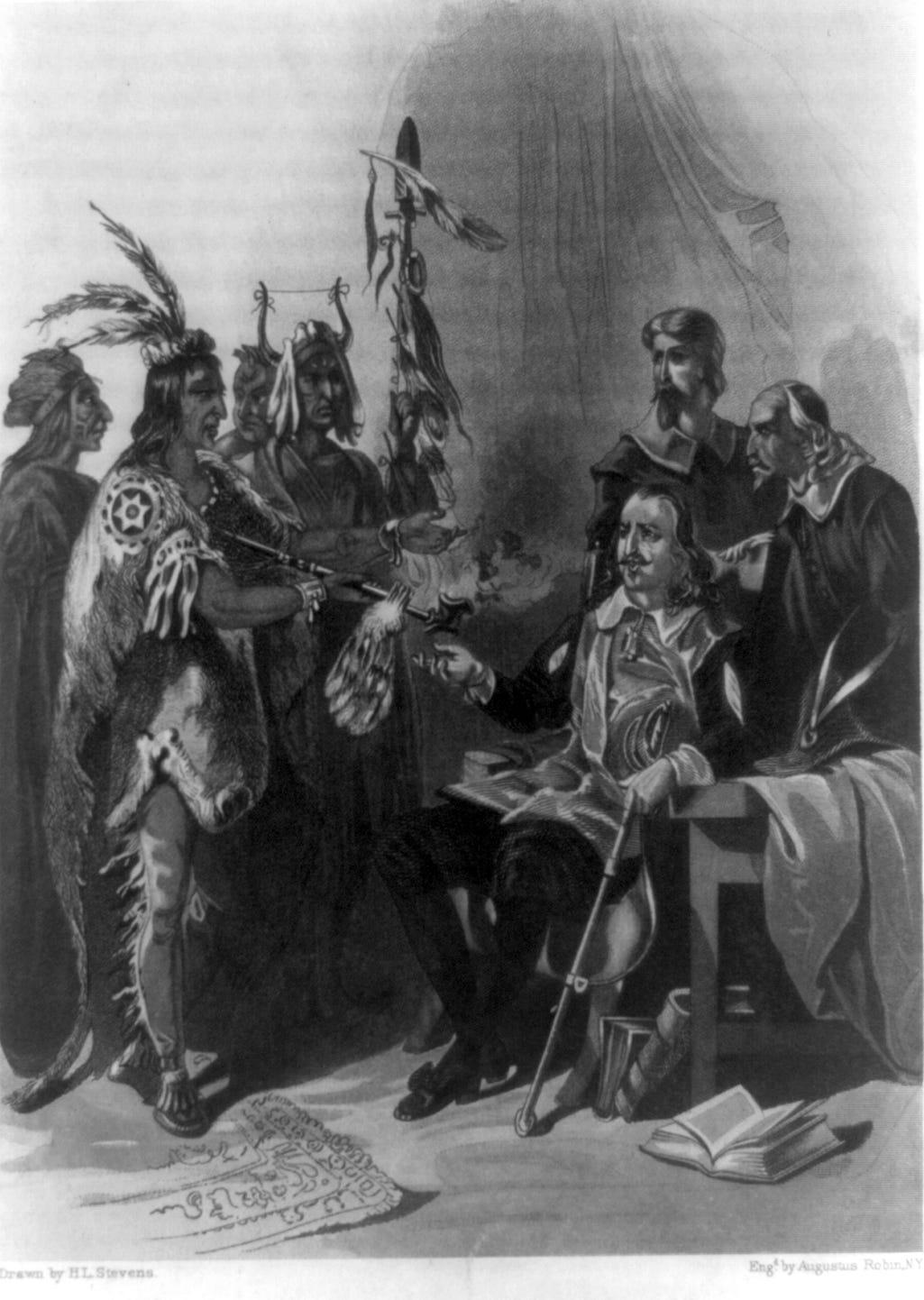 Massasoit (Great Sachem) Ousamequin meets Gov. William Bradford in this sketch.