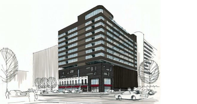 Columbus developer The Edwards Communities is proposing a 13-story apartment building at 195 E. Broad St., Downtown