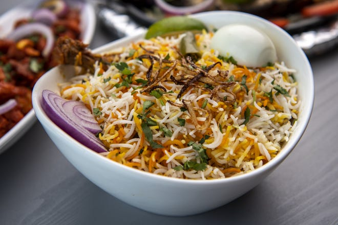 Hyderabadi chicken Dum Biryani is among the offerings at the new Spice 9 restaurant in the Polaris area.