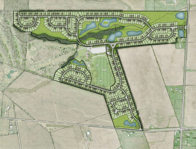 The proposed layout of M/I Homes development on former Foxfire Golf Course, with Rt. 104 on the east, or right side of this image.