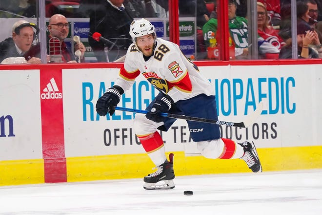 Left wing Mike Hoffman is atop-sixtalent who had 29 goals and 30 assists for the Florida Panthers last season.