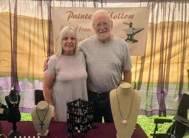 Jewelry makers Gene and Maggi Jorgensen market their jewelry-making business Painted Hollow products at a variety of arts and craft festivals.