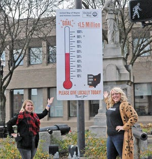 Carrolyn Salazar and Katie Koglman stand with the large money thermometer on the square in Wooster that now stands at 60 percent.