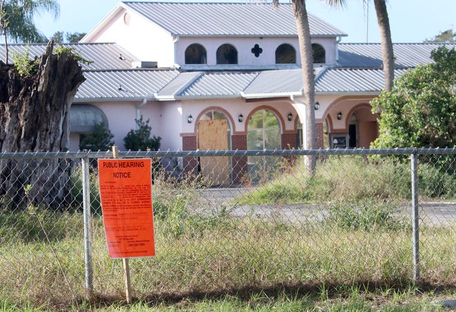A public hearing notice posted outside of the former Sandhill Golf Course, now boarded up and overgrown, in advance of a Nov. 2 DeLand City Commission meeting. The commission gave its final nod of approval for the site to get a brownfield designation to facilitate redevelopment of the property.
