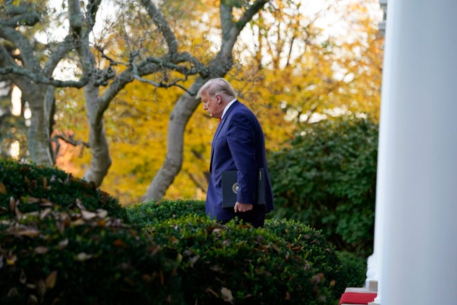 President Donald Trump arrives to speak in the Rose Garden of the White House, Friday, Nov. 13, 2020, in Washington.