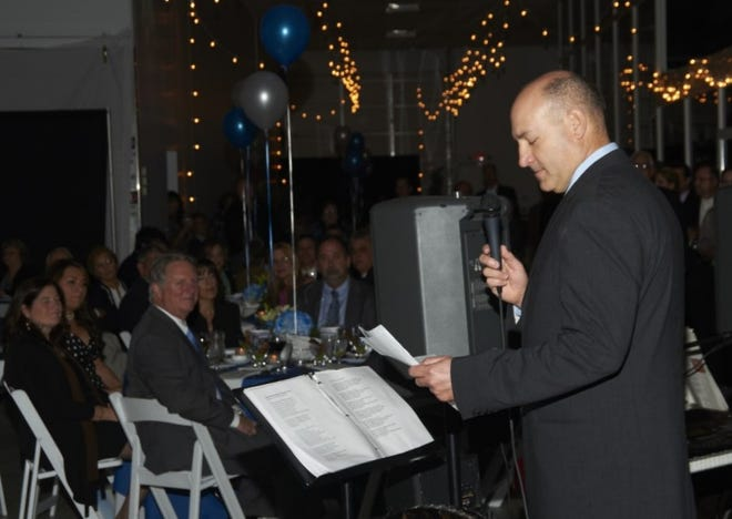 Keith Landy, CEO of Germfree Labs, gives a speech at the Ormond Beach manufacturing company's 50th anniversary celebration in 2012.