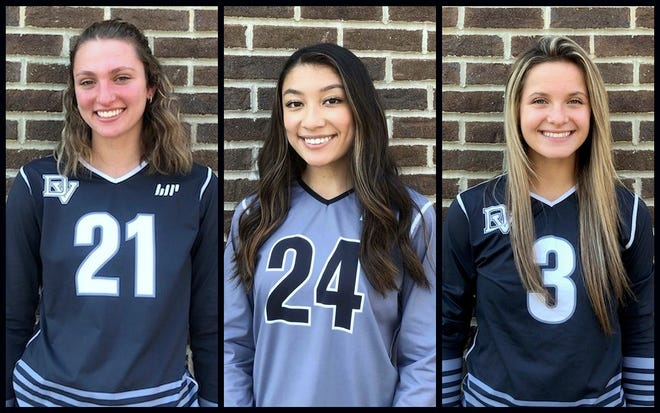 Brooke Acoveno, Michelle Andia, and Kelly Volavka are Delaware Valley's trio of senior volleyball players on this year's girls squad. The Warrior ladies claimed an 11th straight PIAA District 2 title and are headed to the state 4A quarterfinals this weekend versus Parkland.