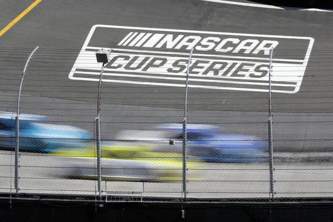 A general view of the NASCAR Cup Series logo as drivers race at Bristol Motor Speedway.
