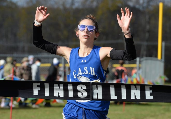 Conneaut's Meaera Shannon wins the District 10 Class 2A girls cross country championship on Oct. 31 at Titusville's Ed Myer Recreation Complex.