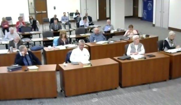 Steuben County legislators observe the 2021 Budget Presentation.