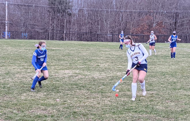 Quabbin's Sydney Giorgi plays the ball in front of Narragansett's Lilly Celata during the fourth quarter of their game, Thursday, Nov. 12, 2020, in Barre. Giorgi scored a goal in the Panthers' 4-1 win.