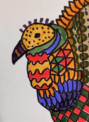 """My Wild & Wacky Turkey"" is a lesson in line and pattern making, taught by WAG Youth Art Coordinator Barbara Diane Barry."