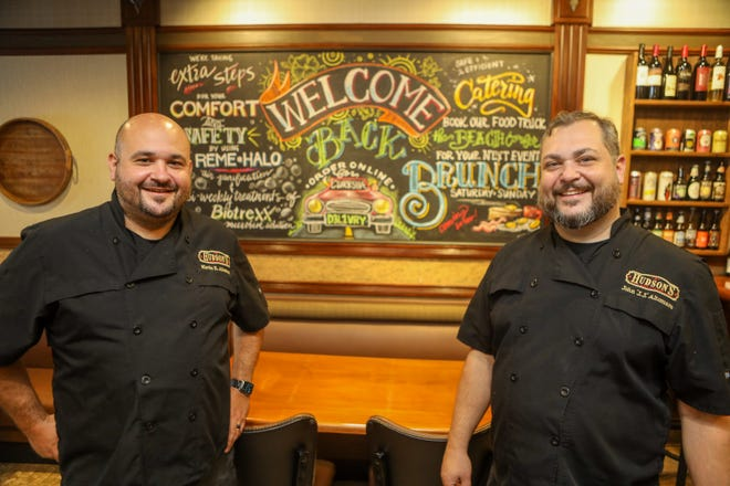 "Brothers Kevin Altomare & J.J. Altomare co-own Hudson's Restaurant on Main Street in downtown Hudson. This photo was taken in July. Kevin said it was ""disheartening"" to hear Gov. Mike DeWine talk about the possibility of shutting down restaurants again due to COVID-19."