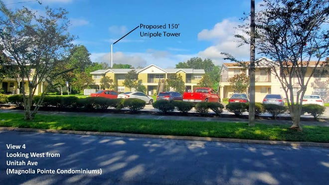 This rendering from the applicant shows the view of the proposed Dixieland cellphone tower, at 1055 Ariana St., while facing Magnolia Pointe Condominiums on Unitah Ave in Lakeland, Florida.
