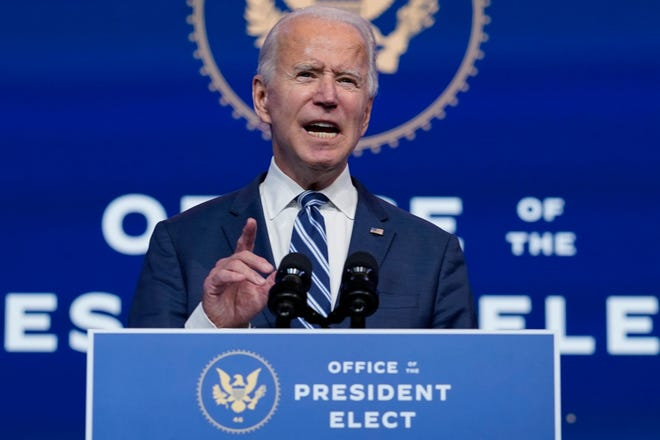 President-elect Joe Biden speaks at The Queen theater on Tuesday in Wilmington, Del.