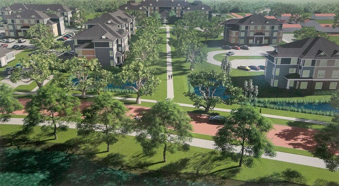 An artist rendering of the Twin Lakes Estates Phase II Apartments in Lakeland near Lake Beulah.