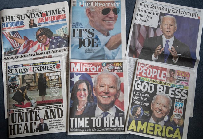 A selection of the British national newspapers on Nov. 8 showing their front page reactions to President-elect Joe Biden and Vice President-elect Kamala Harris winning in the U.S. election, in London.
