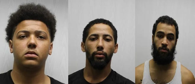 These three men face a total of 42 charges related to a home invasion that happened last month in Medway. From left are Jarrett Boykin, Troy Boykin and Carlos Walker.