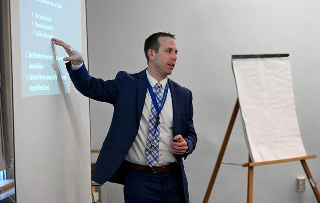 """Ryan Sherman,director of wellness for Medway Public Schools, says a proposal that would allow non-retail marijuana businesses to use contracted drivers to deliver to customers' homes is """"a loophole"""" against communities that are against retail marijuana."""