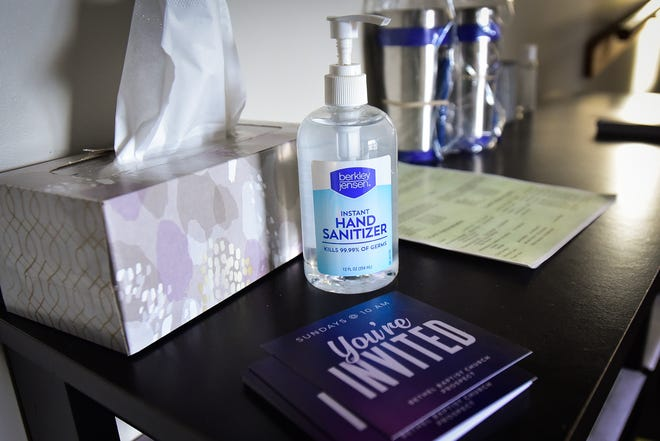 Hand sanitizer is available throughout the Bethel Baptist Church in Prospect.