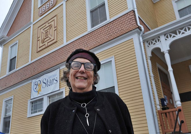 South Shore Stars Executive Director Sheri Adlin poses in front of the Weymouth after school facility, Friday, Nov. 13, 2020.