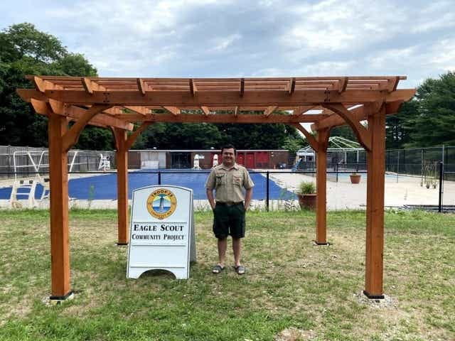 Will Puzella, a Cohasset High senior, constructed a pergola at the Cohasset Swim Center as part of his Eagle Scout service project.