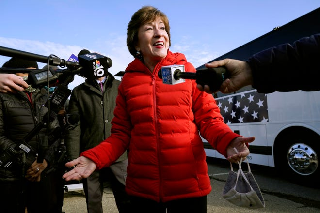 In this Nov. 4, 2020, file photo Republican Sen. Susan Collins, R-Maine, speaks to reporters in Bangor, Maine.