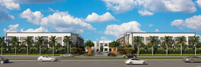An artists rendering of Aura Delray, a six-building 272-unit high end apartment complex at Congress and Atlantic Avenue in Delray Beach.