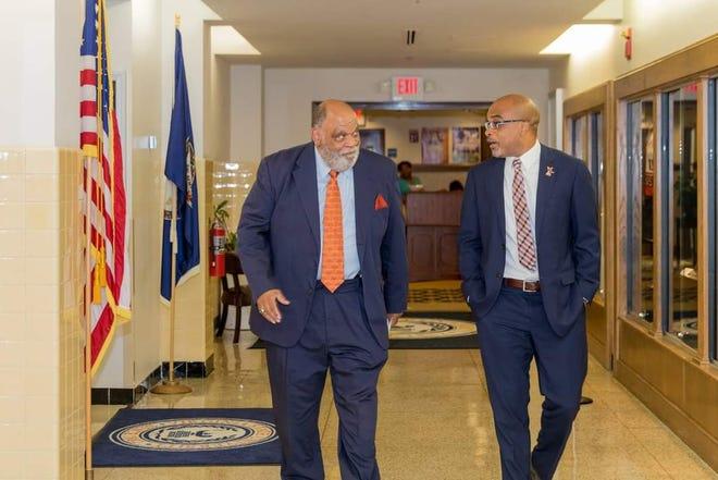 Former VSU President Eddie N. Moore Jr. (left) walks with current VSU President Makola M. Abdullah (right) at Virginia Hall.