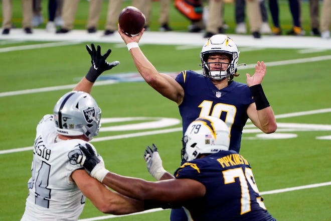 Los Angeles Chargers quarterback Justin Herbert has thrown for 2,146 yards in his first seven starts, the second-highest total in NFL history.