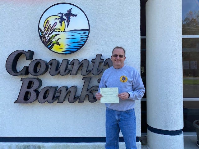 County Bank recently made a $500 donation to Indian River Volunteer Fire Co. Pictured is IRVFC President Patrick C. Miller.
