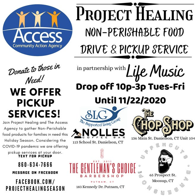 Project Healing of Danielson will be collecting nonperishable goods until Nov. 22 to be donated to Access food pantries in Willimantic and Danielson.