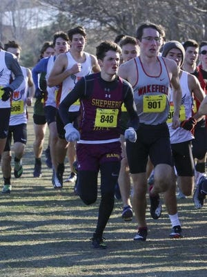 Shepherd Hill's Henry Weiland tries to find space at last year's All-State Meet.