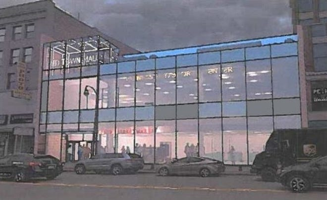 An initial rendering submitted by the owner of the Midtown Mall in Worcester depicting what the downtown building would look like with a glass facade. [Submitted]