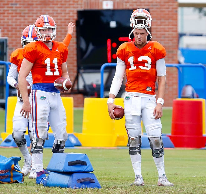 Former Florida teammates Kyle Trask (11) and Feleipe Franks (13) will match talents from opposite sidelines Saturday at The Swamp.