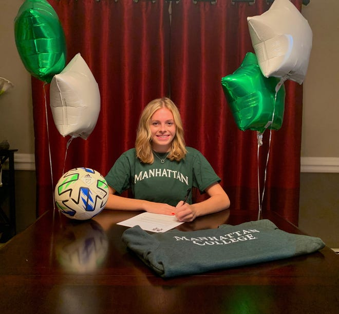 Cornwall senior soccer player Brooke Zimmer signs with Division I Manhattan. PHOTO PROVIDED
