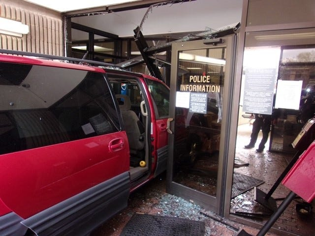 Van that crashed through the front door of the Burlington Police Department Friday Nov. 13.