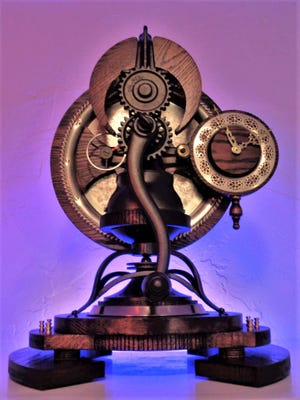 """""""Tempus Spectri,"""" one of the pieces on display at Dave Duros' Steampunk Curiosities Gallery."""