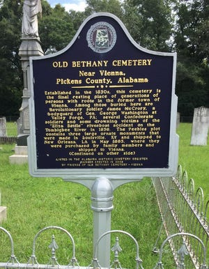 Old Bethany Cemetery is located south of Aliceville, Ala., in Pickens County. The first known interment was in 1837. One of the most famous graves is that of James McCrory, who served as a guard for General George Washington at Valley Forge.