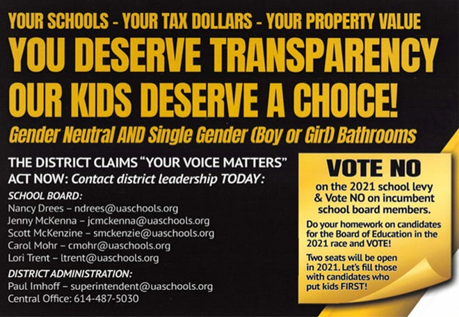 This is one side of the flyer anonymously mailed to Upper Arlington residents the week of Nov. 2.