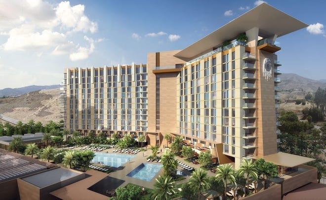 An artist rendering of the San Manuel Band of Mission Indians' $550 million San Manuel Casino resort expansion in the foothills of Highland.