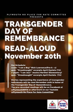 Plymouth No Place For Hate Committee Transgender Day of Remembrance flyer.