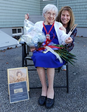 Cadet Nurse Mary Maione of Hamilton, who served as a Cadet Nurse during World War II, with her daughter, Marcia.