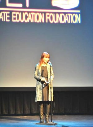 Scituate Education Foundation Co-President Abby Korman prepares to introduce comedian Jen Mauceri at the Scituate Education's Foundation's Virtual Seaside Stories 2020 event.