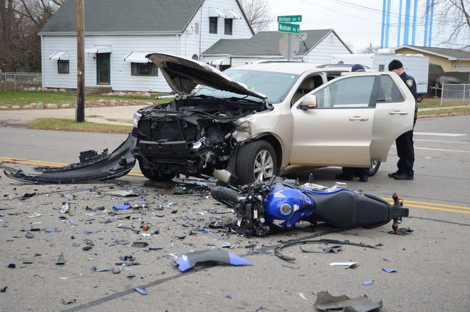 Battle Creek police said a man was killed when his motorcycle struck a car Friday afternoon.