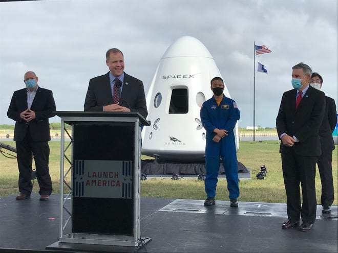 NASA Administrator Jim Bridenstine speaks to the press at Kennedy Space Center on Friday before the Crew-1 launch set to take place Sunday evening.