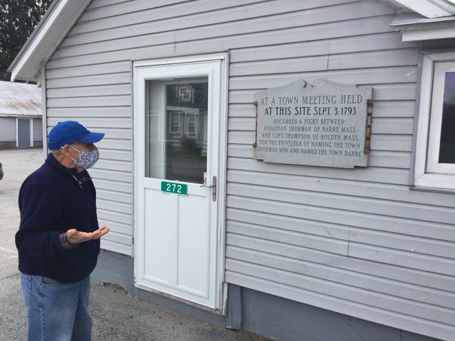 Paul Heller, who writes about the history of Barre, stands Nov. 12, 2020 at the site where a fistfight in 1793 settled the town's name.