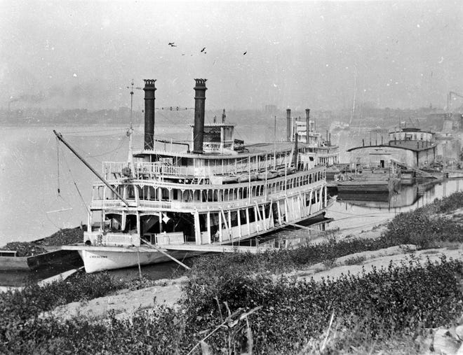 The steamboat Crescent was known as the Joe Fowler between 1888 and 1919 and for most of that time it was a packet boat that hauled freight, passengers and the U.S. Mail. In 1919, after it had been rebuilt for the excursion trade, a new owner renamed it the Crescent. It was seeking shelter from ice on the Ohio River when it burned near Spottsville on Nov. 17, 1920.
