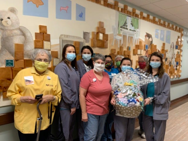 The members of the Alley-White American Legion Auxiliary Unit 52 in Mountain Home delivered a gift basket containing 120 baby hats to Baxter Regional Medical Center on Oct. 22.