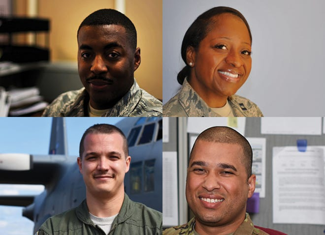 Clockwise from top left are Staff Sgt. Louis Fields, Chaplain (Capt.) Tiesha Simmons, Staff Sgt. Tristan Hordge, and Master Sgt. Justin Nettles are members of the 908th.